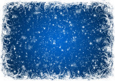 Blue Christmas background with white frost Stock Image