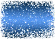 Blue Christmas background with white frost Royalty Free Stock Photography