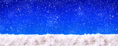 Blue  christmas background and white snow. Stock Photo
