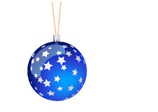 Blue christmas ball. With stars Stock Photos