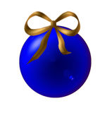Blue Christmas ball. With ribbon golden Stock Image