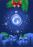 Blue Christmas Ball. Sparkling blue Christmas Ball with snowman inside Royalty Free Stock Image