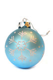 Blue Christmas ball. With ornament of snowflake. Isolated on white Royalty Free Stock Photo