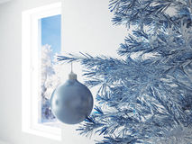 Blue christmas ball Stock Photos