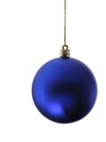 Blue christmas ball. Isolated over white backgriund royalty free stock photo