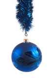 Blue christmas ball. Ball, balls, blue, celebrating, celebration, celebrations, christmas, december, decoration, decorations, holiday, holidays, isolated Stock Images