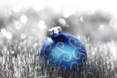 Blue christmas ball Stock Images