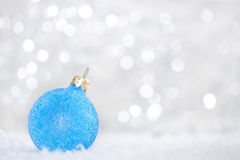 Blue christmas ball. On abstract light background Stock Photography