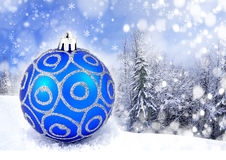 Blue Christmas ball. On nature background Stock Photography