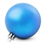 Blue christmas ball. Tree decoration - blue christmas ball  on white with clipping path Stock Photos
