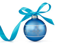 Blue Christmas ball. With ribbon over white background Royalty Free Stock Photography