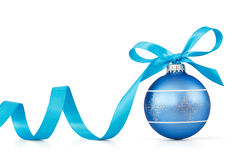 Blue Christmas ball. With ribbon over white background Royalty Free Stock Image