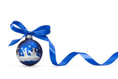 Blue Christmas ball. With ribbon over white background Stock Image