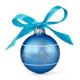 Blue Christmas ball. With ribbon over white background Royalty Free Stock Photo