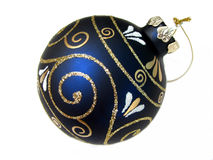 Blue Christmas ball. Closeup on dark blue Christmas tree ornament isolated on white backround Stock Photo