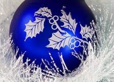 Blue christmas ball. And christmas ornament Royalty Free Stock Photos