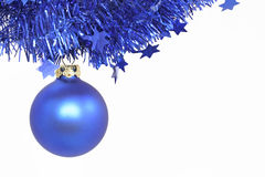 Blue Christmas ball. Isolated on white Royalty Free Stock Photos