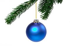 Blue christmas ball. On a green branch isolated on white background Royalty Free Stock Photos