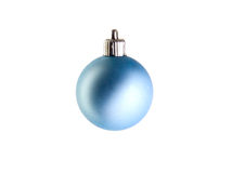 Blue christmas ball. On white ground Royalty Free Stock Photo
