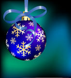 Blue Christmas ball. On abstract background. Vector illustration royalty free illustration