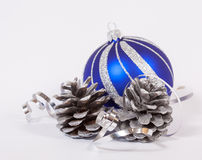 Blue christmas ball Stock Photos