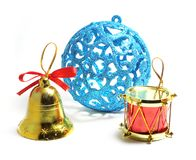 Blue Christmas ball bell Stock Photos