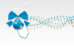 Blue Christmas ball with bow and tinsel. Banner Stock Images