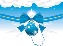 Blue Christmas ball with bow and tinsel. Card Royalty Free Stock Images