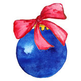 Blue Christmas ball with bow Stock Image