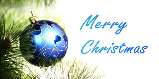 Blue christmas ball on the christmas Stock Image