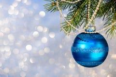 Blue Christmas Ball on a Christmas Tree Royalty Free Stock Photography