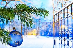 Blue Christmas Ball with Christmas Twig. In the Night Royalty Free Stock Photography