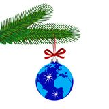 Blue Christmas Ball Decorated with Globe Hanging on Fir Tree. Royalty Free Stock Photo