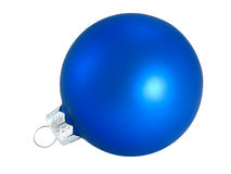 Blue Christmas ball for decoration Christmas tree. On a white background close-up Stock Images
