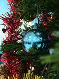 Blue Christmas ball. Decoration on Christmas tree Stock Photos