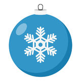 Blue Christmas Ball Flat Icon on White royalty free illustration
