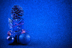 Blue christmas ball and gift decoration glitter background Royalty Free Stock Photos