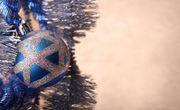 Blue Christmas ball with glitter, extreme close-up Stock Images