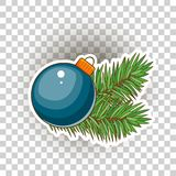 Blue Christmas ball with gold bow. Holiday christmas toy for fir tree. Vector illustration. Blue Christmas ball. Holiday Christmas toys for the Christmas tree Stock Photography