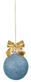 Blue Christmas ball with golden bow Stock Image