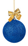 Blue Christmas ball with golden bow Royalty Free Stock Image