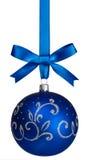 Blue christmas  ball hanging Stock Photography
