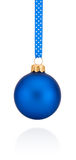 Blue Christmas ball hanging on ribbon Isolated on white Stock Photo