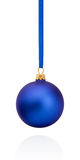 Blue Christmas ball hanging on ribbon Isolated on white Royalty Free Stock Image