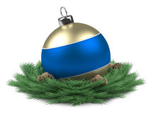 Blue Christmas ball isloated Royalty Free Stock Photography