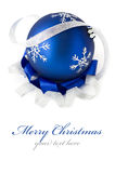 Blue christmas ball isolated. With copy space Stock Photo