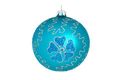 Blue christmas ball isolated. On white Royalty Free Stock Photo