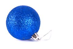 Blue christmas ball. Isolated on white background Royalty Free Stock Photos