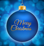 Blue Christmas ball with Merry Christmas title Stock Images