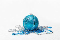 Blue Christmas ball with metallic beads Royalty Free Stock Images